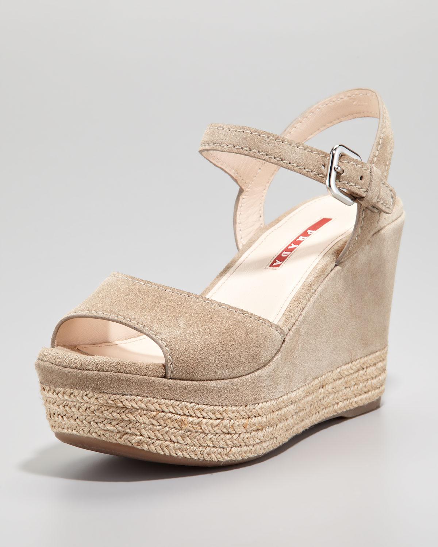 3df7bf1b0f6 Lyst - Prada Suede Espadrille Trim Wedge Sandal in Natural