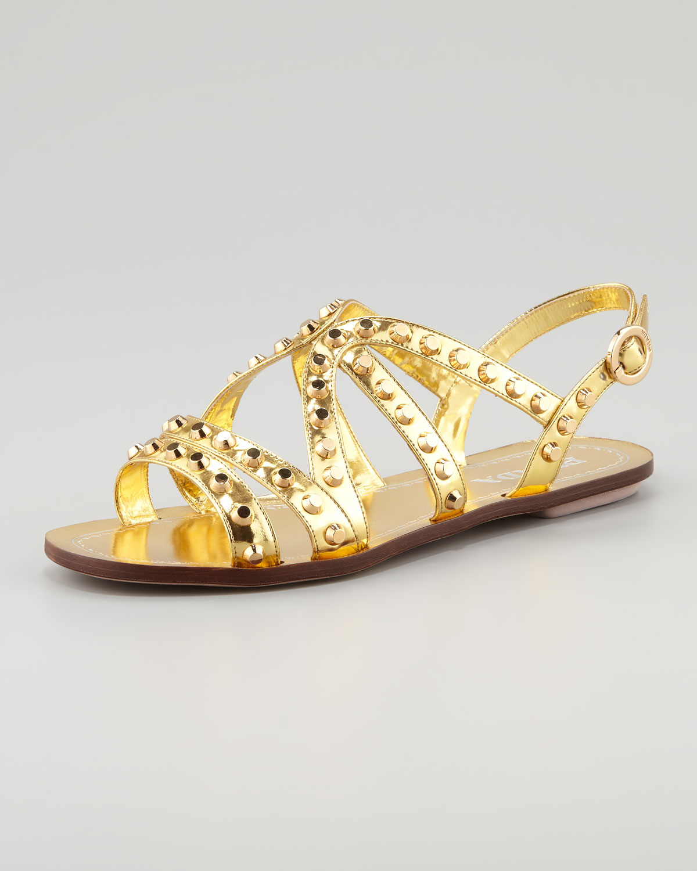 d209531683ec6 Lyst - Prada Studded Strappy Flat Sandal in Metallic