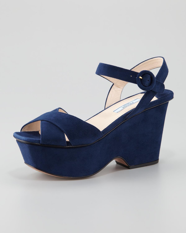 Lyst Prada Suede Crisscross Cutout Wedge Sandal In Blue