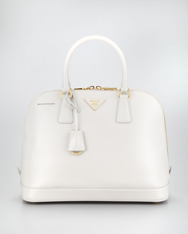 2c7d6ff6ee20 Prada Saffiano Vernice Round Dome Bag Talco in White - Lyst