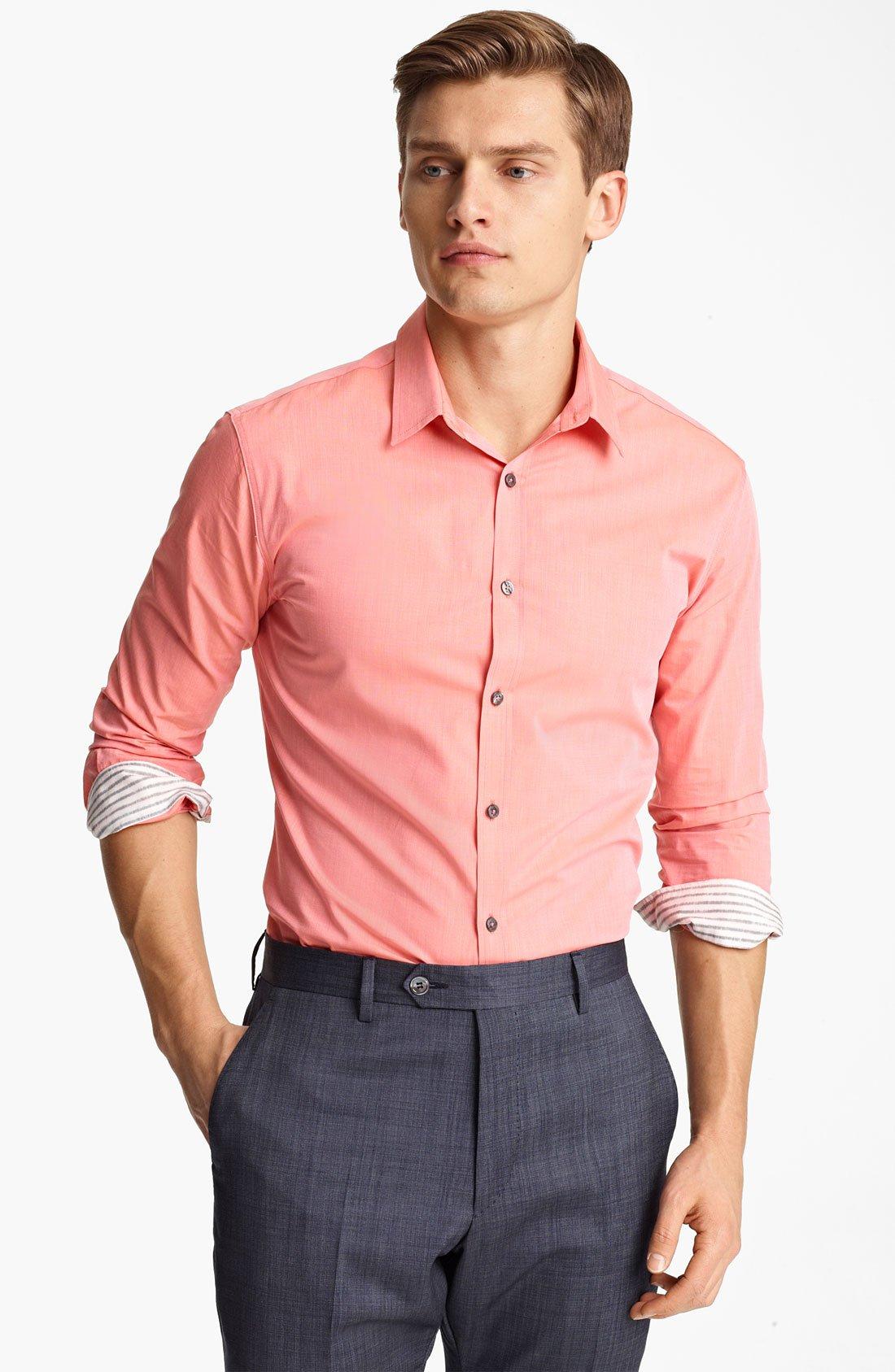 Pink Dress Shirt Men Cocktail Dresses 2016