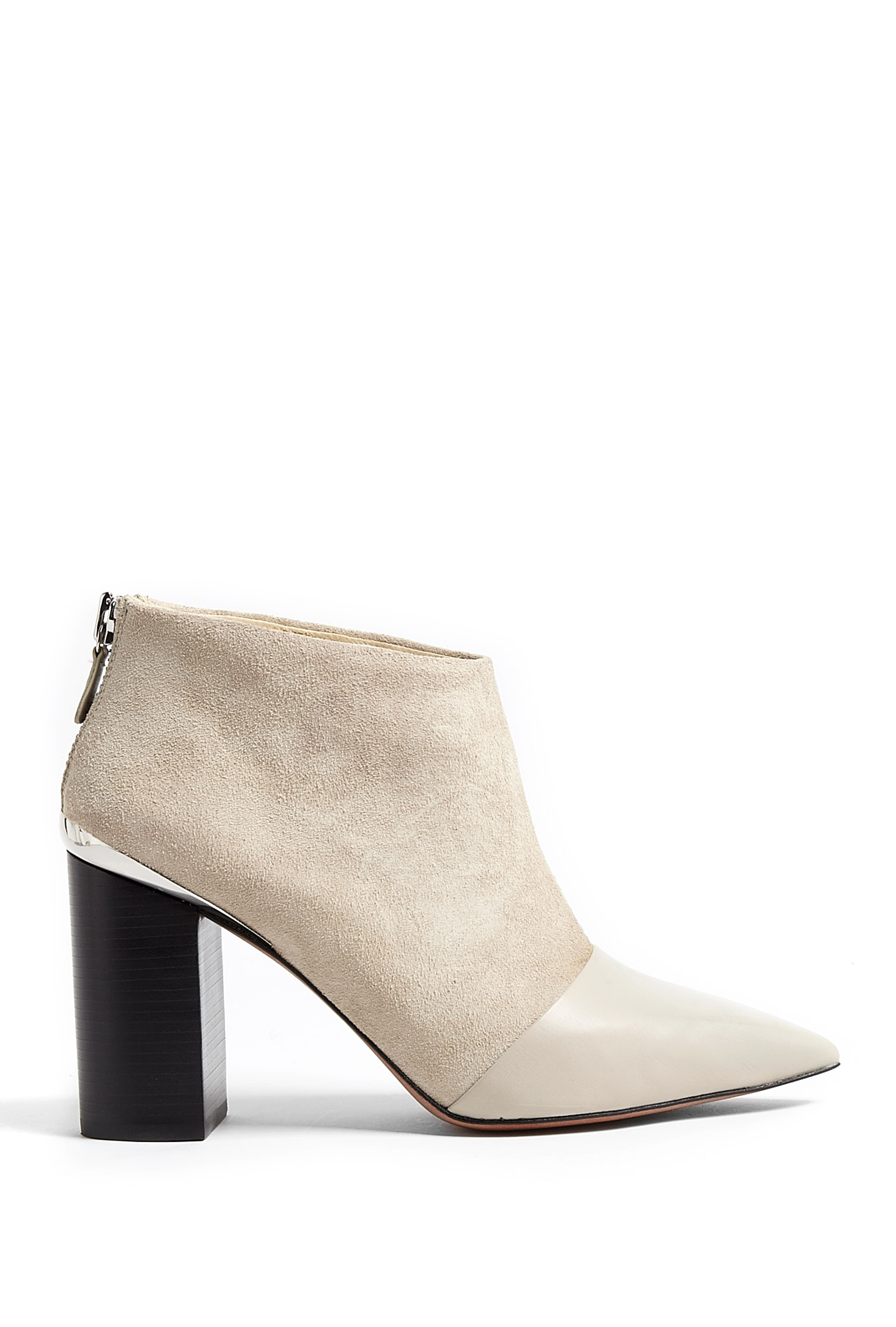 see by chlo opale leather pointed toe suede ankle boots in beige lyst. Black Bedroom Furniture Sets. Home Design Ideas