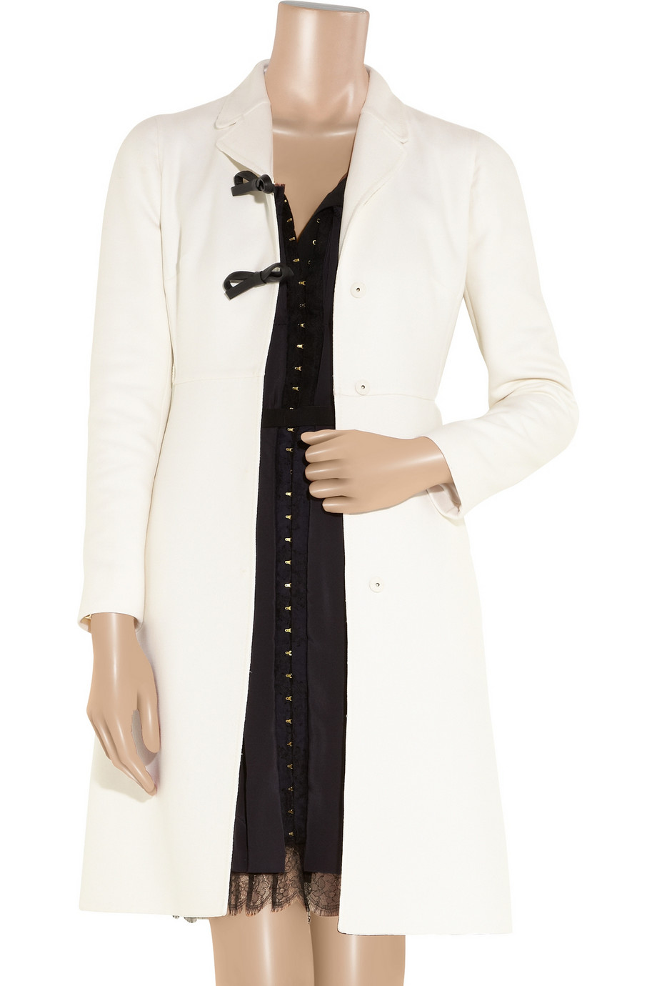 Valentino Belted Wool And Silk Blend Coat In White Lyst