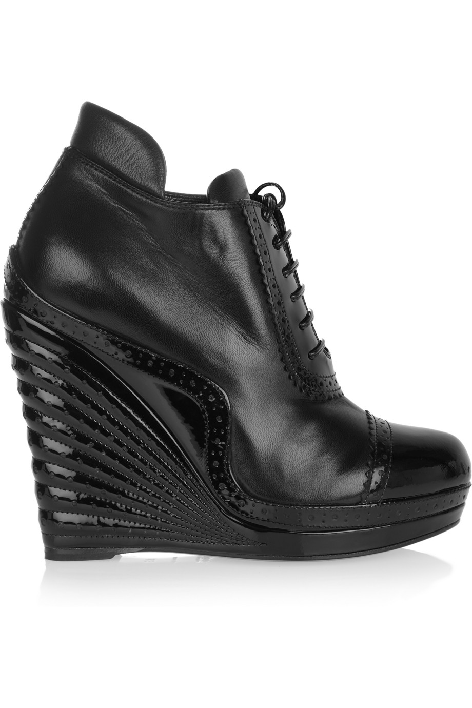 3ed0eb9e14f Saint Laurent Leather and Patent-leather Wedge Ankle Boots in Black ...