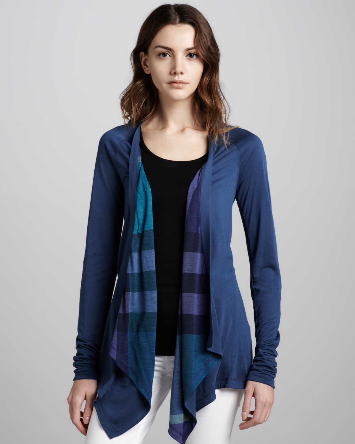 Burberry brit Reversible Waterfall Cardigan Pale Indigo in Blue | Lyst