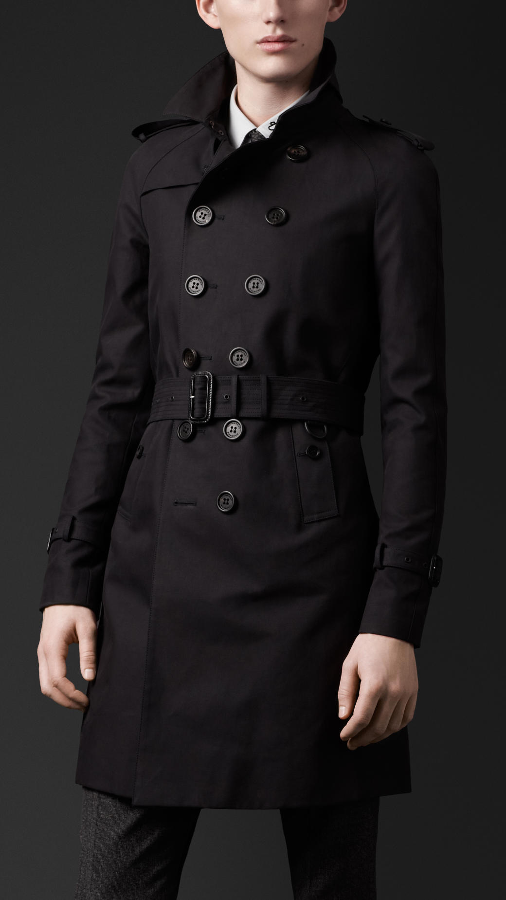 5288929ea791 Lyst Burberry For Cotton Sateen Black Coat Prorsum Men Trench In 1U8xwUn