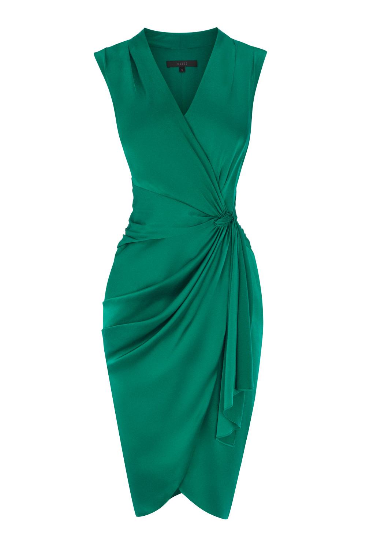 Lyst - Coast Lavinia Gathered-Satin Dress in Green