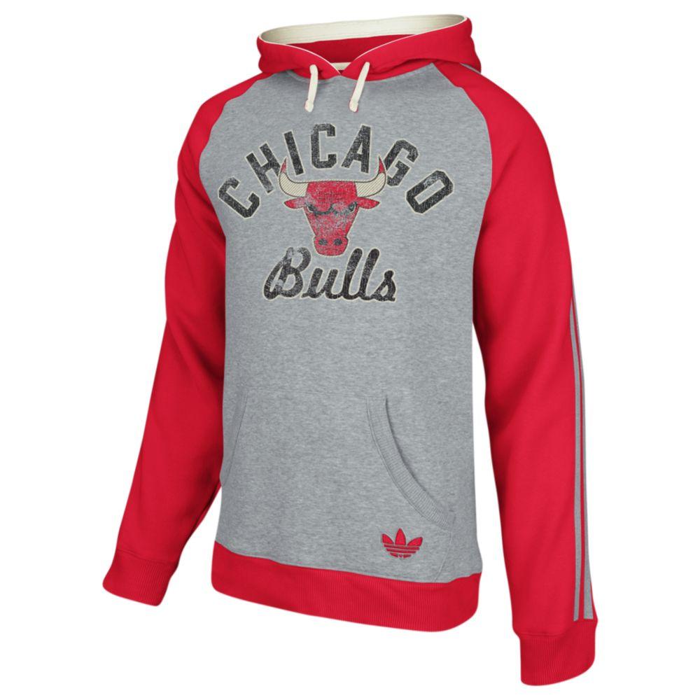 adidas chicago bulls fleece raglan pullover hoodie in gray. Black Bedroom Furniture Sets. Home Design Ideas
