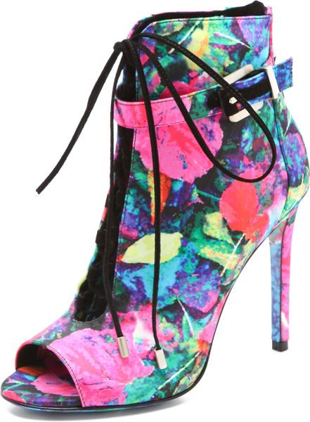 B Brian Atwood Linford Floral Booties in Multicolor (pink)