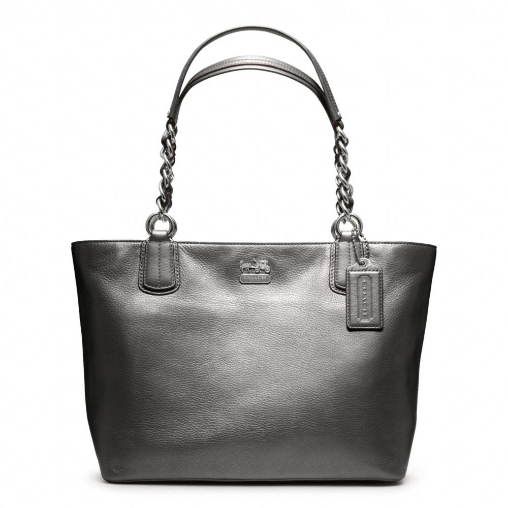 lyst coach metallic leather tote in metallic