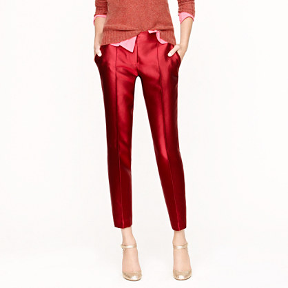 J.crew Collection Pintucked Café Capri Pants in Red | Lyst