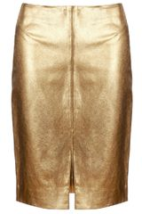 L'Agence Gold Leather Pencil Skirt