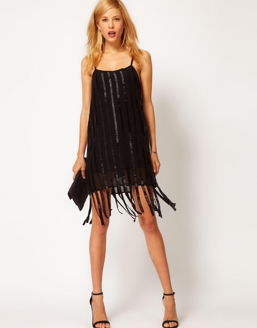 Mango Embellished Flapper Dress in Black   Lyst