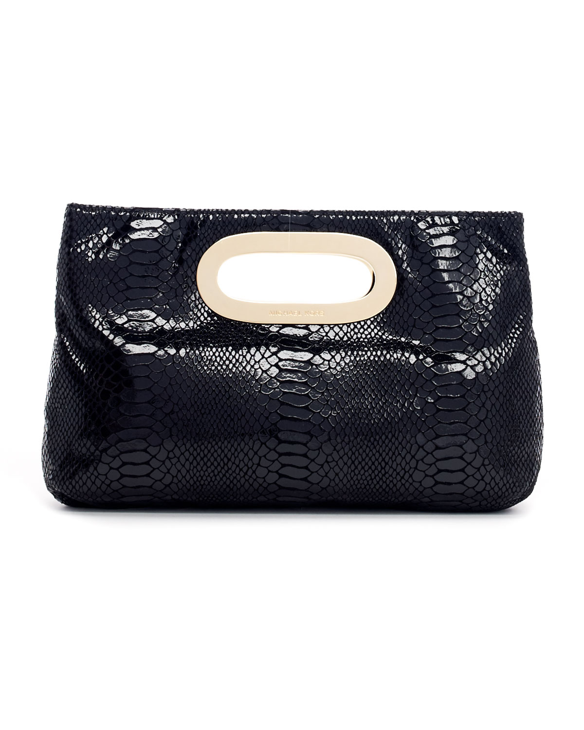 michael kors berkley patent pythonembossed clutch in black. Black Bedroom Furniture Sets. Home Design Ideas