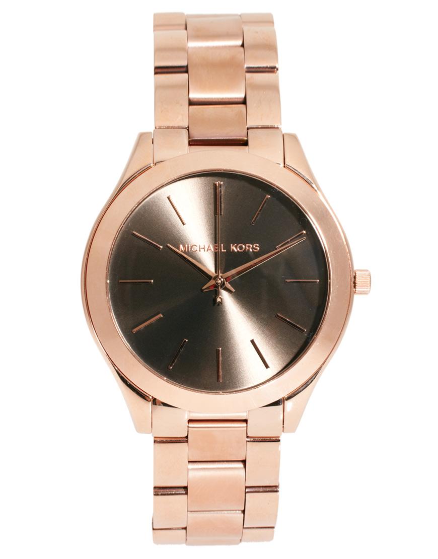 lyst michael kors boyfriend rose gold bracelet watch in pink. Black Bedroom Furniture Sets. Home Design Ideas