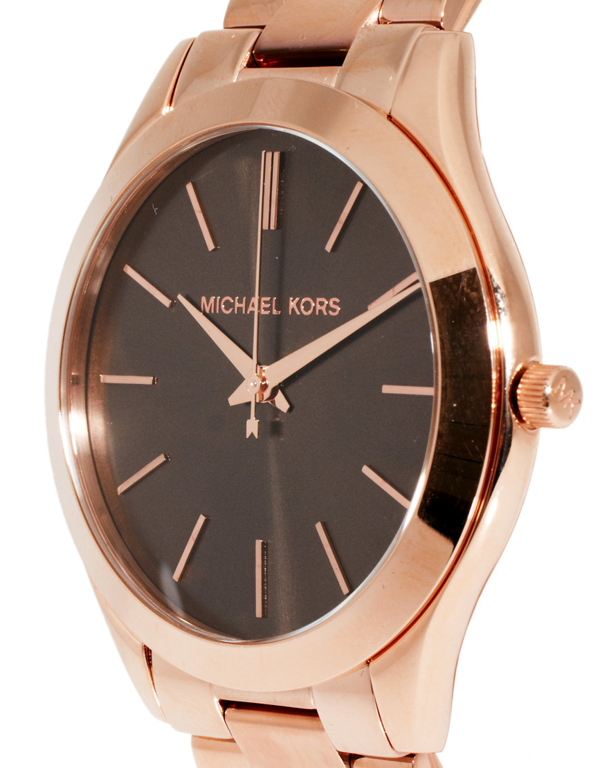 michael kors boyfriend rose gold bracelet watch in pink lyst. Black Bedroom Furniture Sets. Home Design Ideas