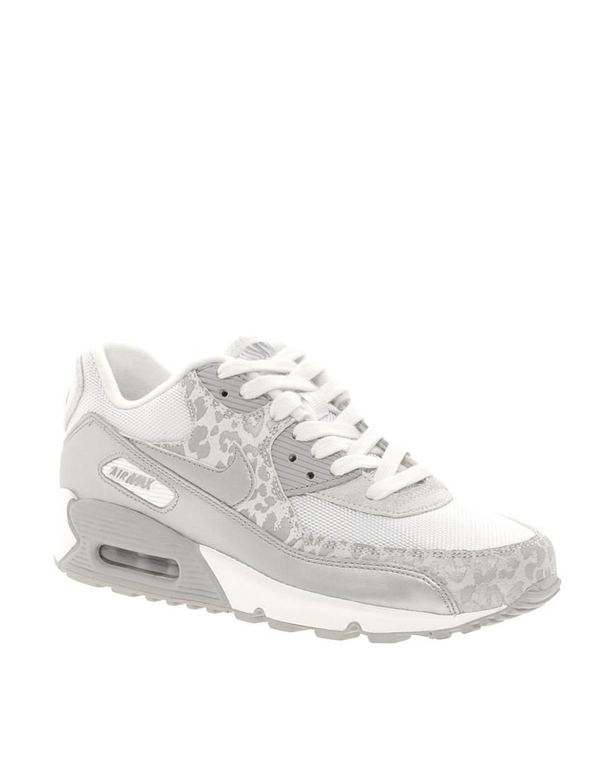 Cheap Nike Air Max 90 Snow Leopard Print Womens Silver White