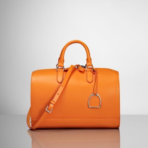 Lyst - Ralph Lauren Vachetta Stirrup Boston Bag in Orange 81c5028686444