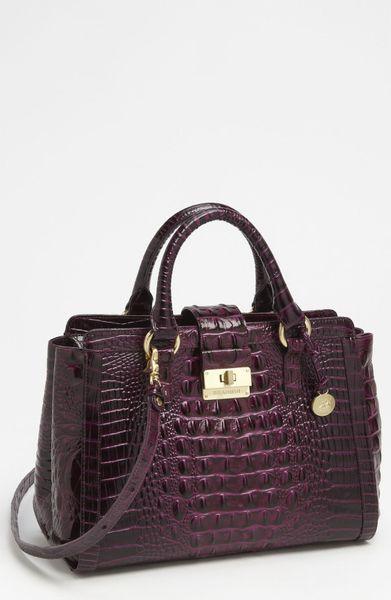 Brahmin Annabelle Croc Embossed Handbag in Purple (dark iris)