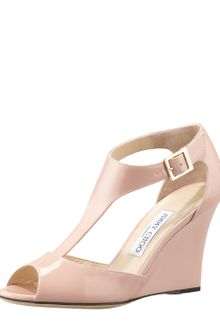 Jimmy Choo Token Patent Tstrap Wedge Sandal Blush - Lyst