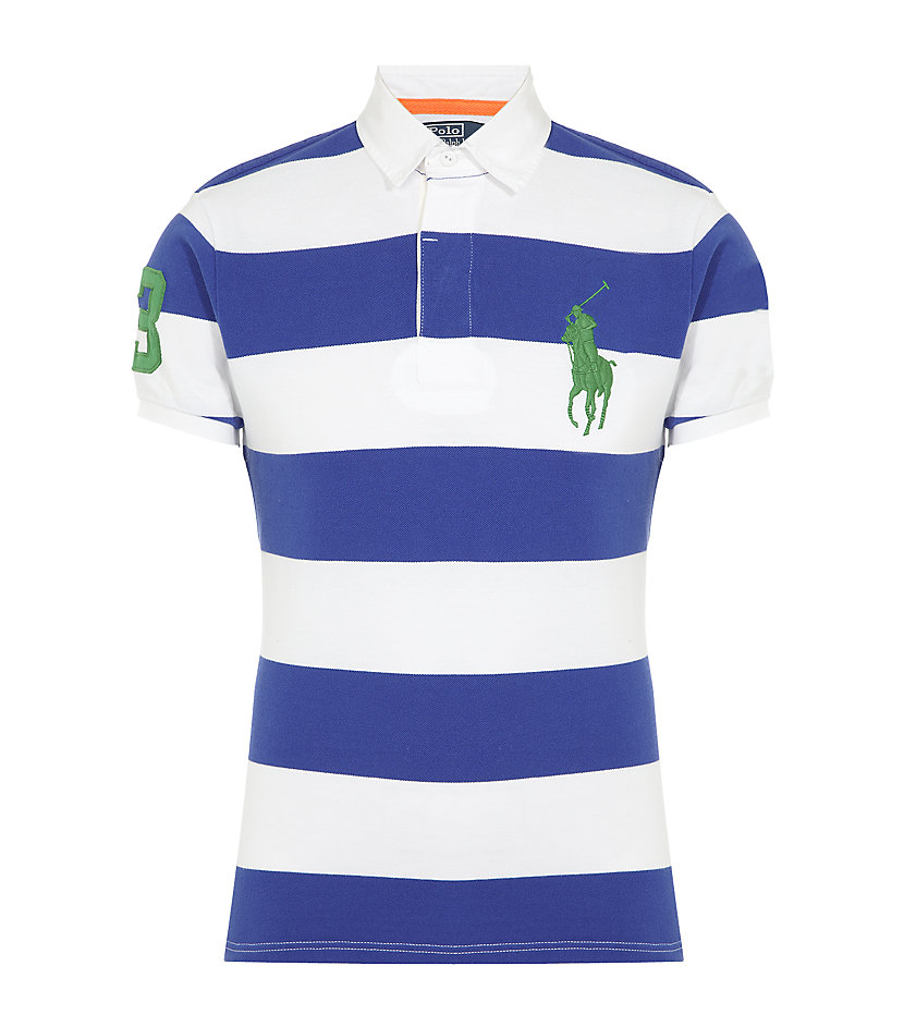 Polo Ralph Lauren Rugby Stripe Polo Shirt In Blue For Men