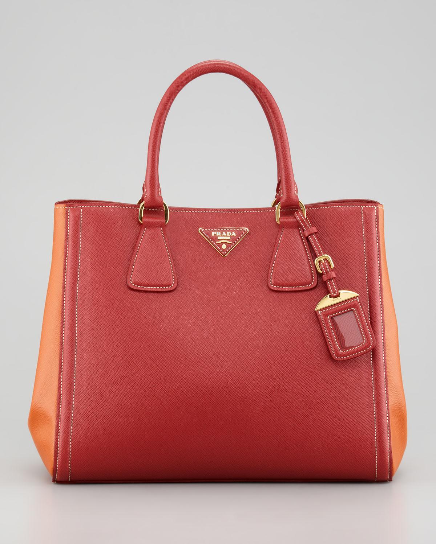 f50e4f745dde ... where to buy lyst prada saffiano twotone tote bag in red 3a021 e23c3