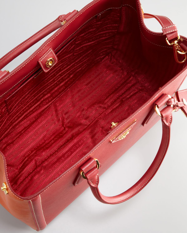 Prada Saffiano Twotone Tote Bag in Red (fuoco papaya) | Lyst