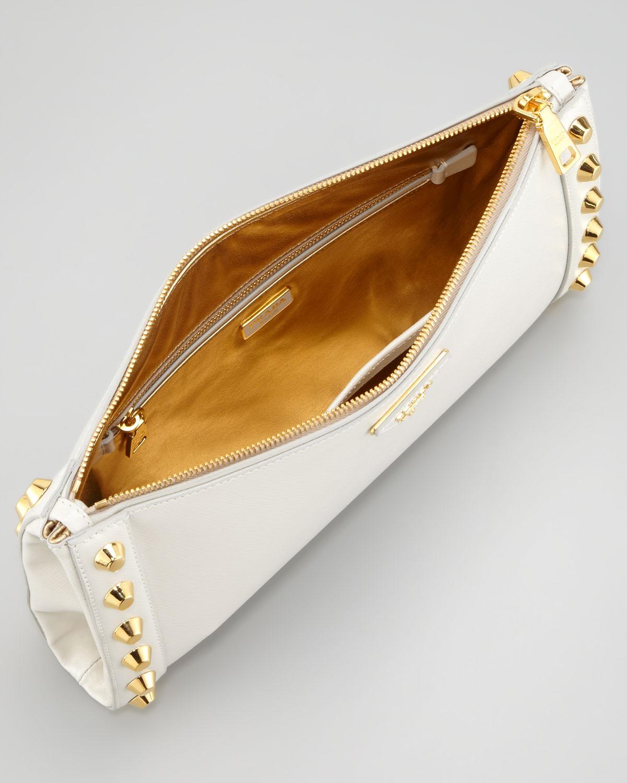 Prada Studded Clutch in White | Lyst