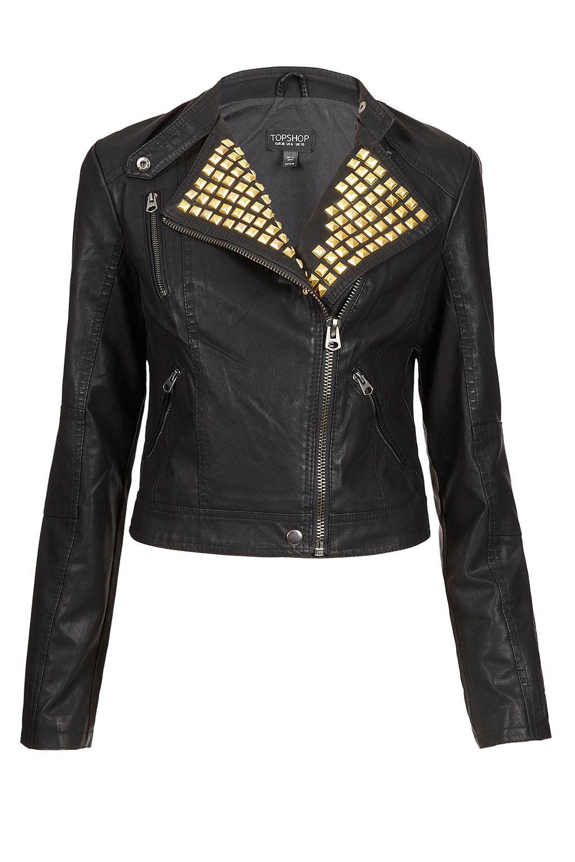 Lyst Topshop Gold Studded Clean Biker Jacket In Black