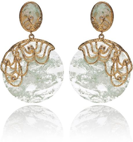 Alexis Bittar Mauritius Lace Imi Aqua Disc Earrings in Gold (aqua/gold)