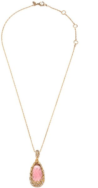 Alexis Bittar Teardrop Pendant Necklace in Pink (gold/pink)