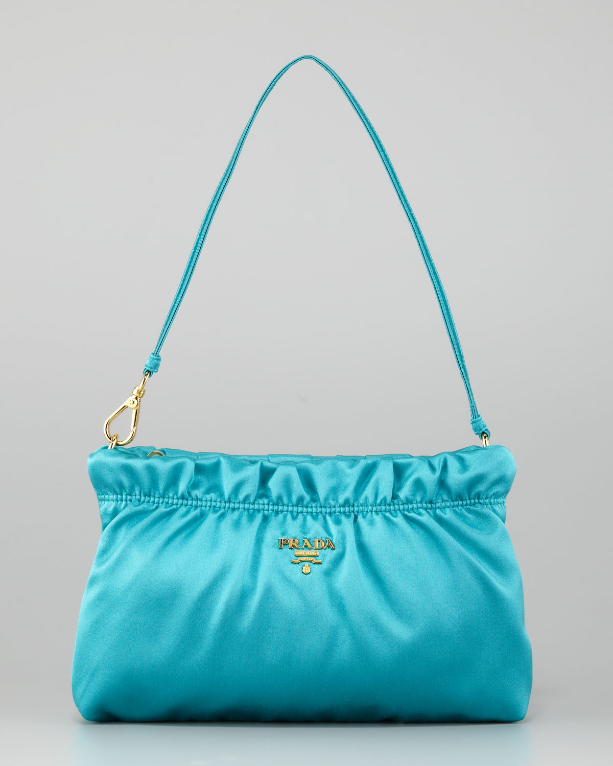 Prada Ruched Satin Small Shoulder Bag in Blue | Lyst