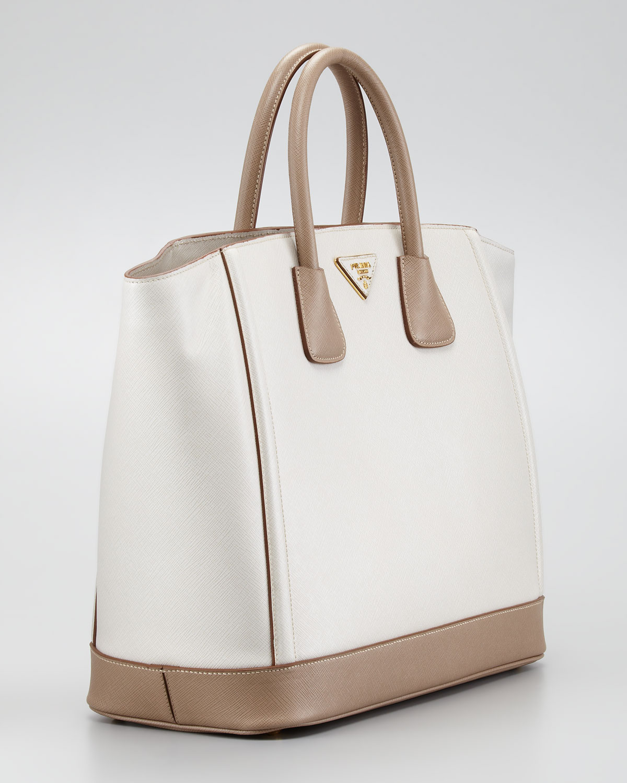 Prada Saffiano Large Bicolor Tote Bag in White (talco visone) | Lyst