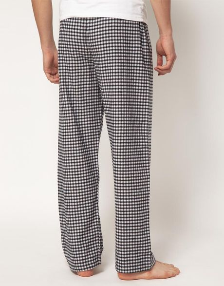 Calvin Klein Flannel Check Lounge Pants In Black For Men