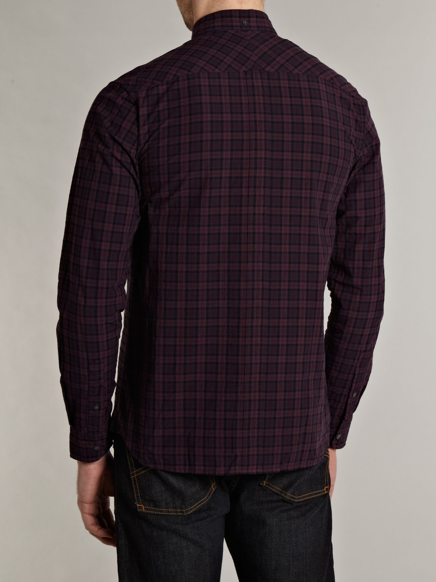 Lyst fred perry long sleeved overdyed tartan shirt in for Fred perry mens shirts sale