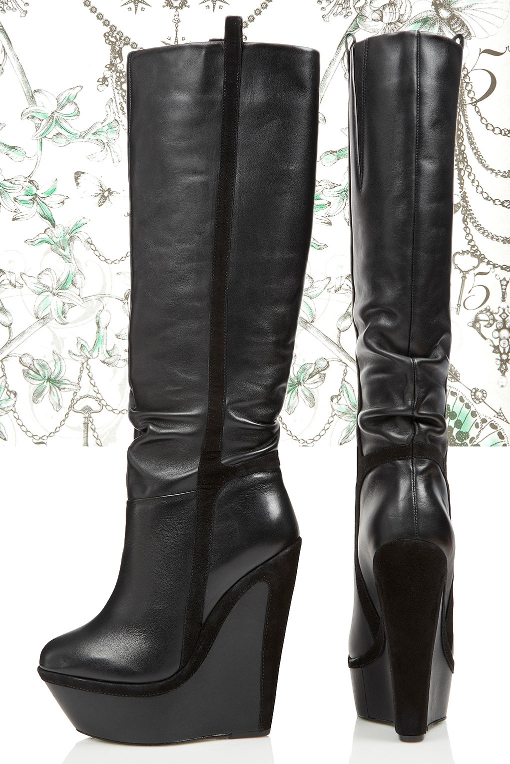 Topshop Winters Knight Wedge Boots By Cjg In Black Lyst