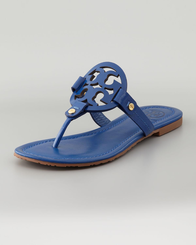 8e40beeb7265f4 Lyst - Tory Burch Miller Logo Flat Thong Sandal Indian Ocean in Blue