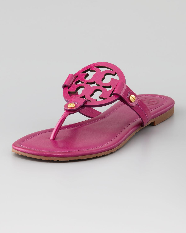 8f5b78a5a6d5 Lyst - Tory Burch Miller Logo Flat Thong Sandal Party Fuchsia in Pink