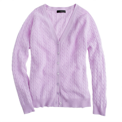 J.crew Collection Cashmere Minicable Cardigan in Purple   Lyst