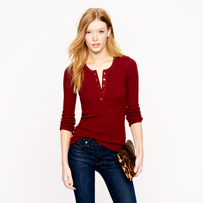 Thermal henley in red lyst for Women s cotton henley shirts
