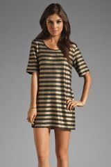 Mink Pink Gold Member Stripe Tee Dress