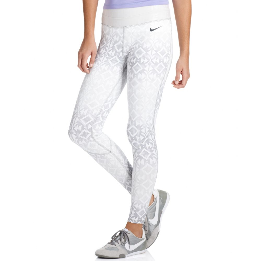 Lyst - Nike Pro Hyperwarm Drifit Printed Active Leggings in White d4e5bbf8b