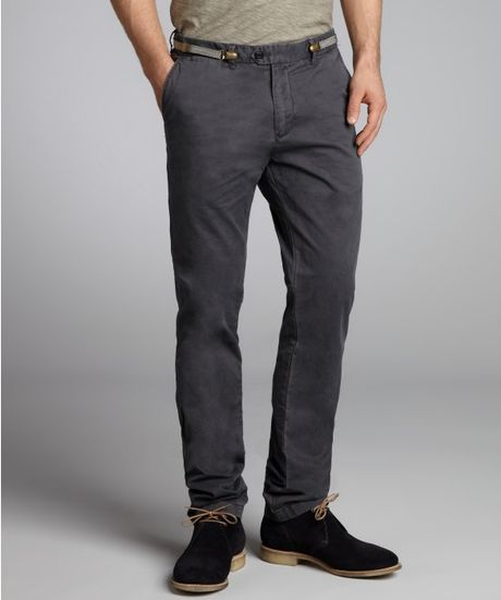 Scotch & Soda Brushed Cotton Suspender Belt Flat Front Pants in Gray for Men (anthracite (grey))