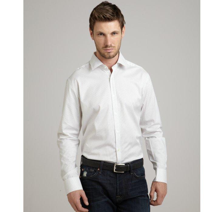 Lyst theory jasper grid pattern marco s finney spread for Tony collar dress shirt