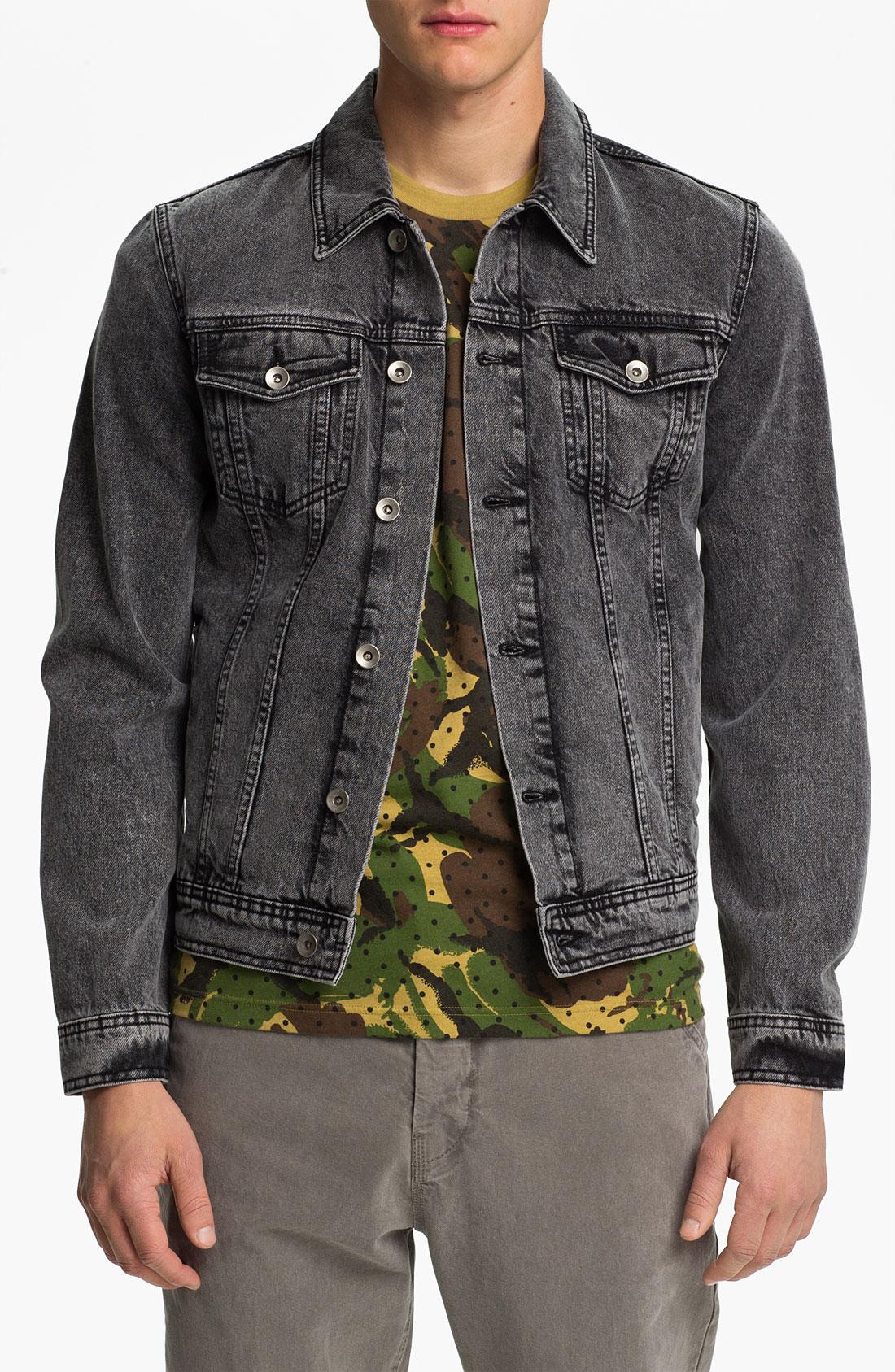 Topman Washed Denim Jacket in Gray for Men (black) | Lyst