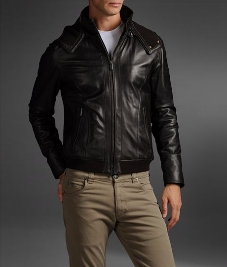 Armani Leather Jacket in Brown for Men (dark brown) | Lyst