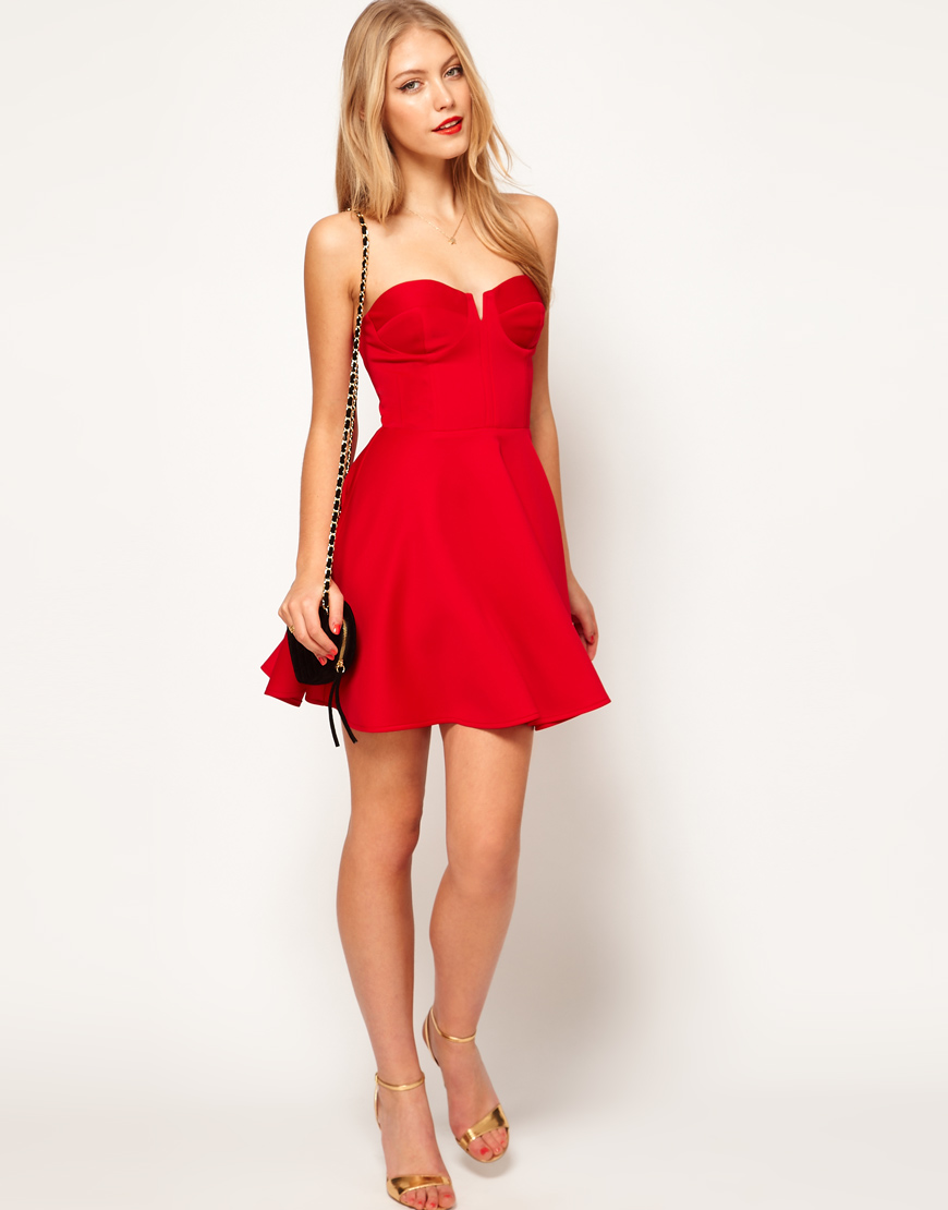 Lyst Asos Bandeau Skater Dress With Circle Skirt In Red
