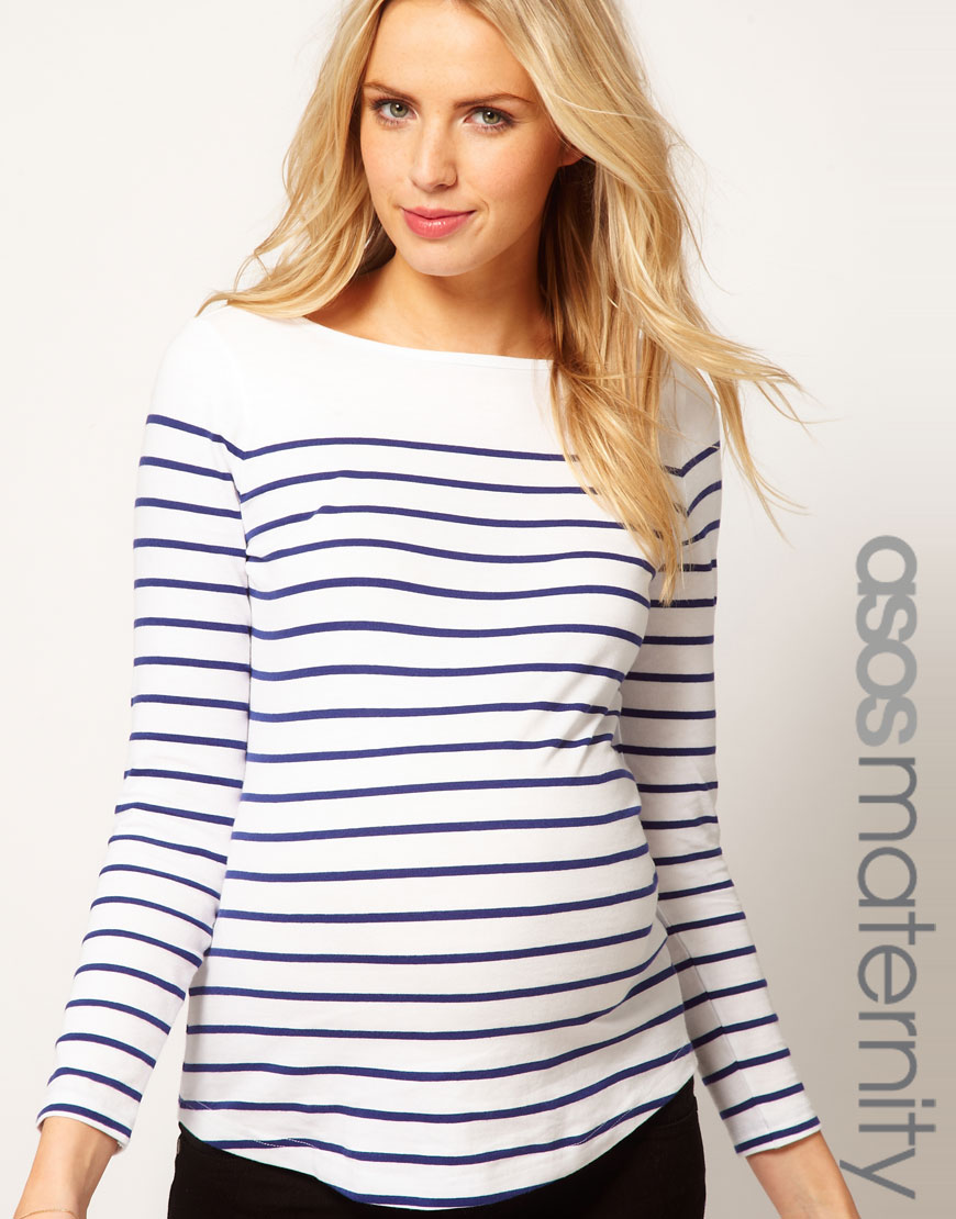 b41c9dc471807 ASOS Top in Cotton Breton Stripe with Long Sleeves in White - Lyst