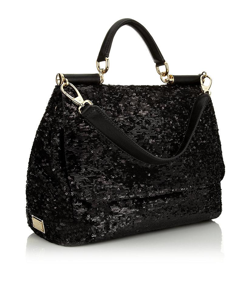 Dolce   Gabbana Miss Sicily Sequin Bag in Black - Lyst db896c0114