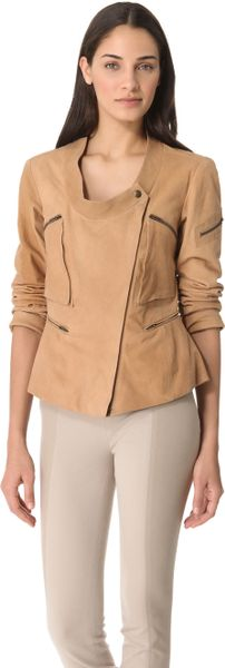 Donna Karan New York Collarless Asymmetrical Zip Jacket in Beige